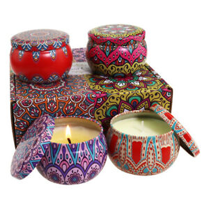 Scented Candles Gift Set Soy Wax Jar beautiful Box 4 scents 4oz tins UK