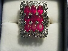 Ruby & White Topaz (6.536 ct) ring in Nickel Free Sterling Silver size 10