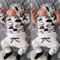 Baby Boy Newborn Outfits Clothes T Shirt Tops+Long Pants+Hat 3PCS 0-18Months Fi