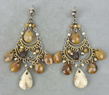 Boho chandelier pierced earrings gold-tone with brown gold off-white faux stones