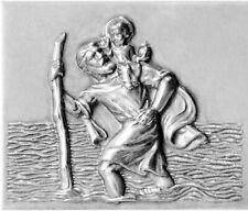 Metall Relief Emblem St. Christophorus Schutzpatron mit Jesuskind Christopherus