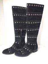 Sam Edelman Chandler Suede Leather Black Boots Studded Tall High Riding Size 6