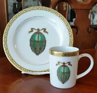 Royal Gallery Gold Buffet Egg Salad Plate with Mug Green Faberge Egg NEW