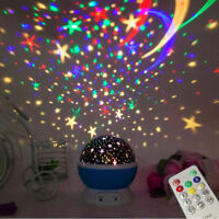 Rotating Star Projector Kids Child Night Light Nursery Room MUSIC W/ Remote Gift