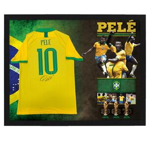 PELE HAND SIGNED FRAMED BRAZIL SOCCER SHIRT WORLD CUP RONALDO MESSI MARADONA