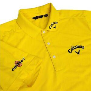 Callaway Odyssey Mens XL Short Sleeve Performance Polo Shirt Yellow Lyocell