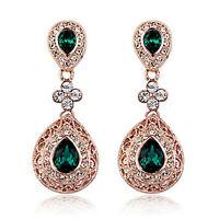 Vintage Design Long Luxury Teardrop Gold & Emerald Green Drop Earrings E648