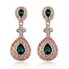 Design Vintage Lungo Lusso a Goccia Oro & Verde Smeraldo Orecchini Pendenti E648