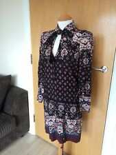 Ladies OASIS Dress Size 12 Boho Hippie Quirky Smart Day Casual Black