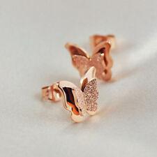 Women Rose Gold Titanium Stainless Steel Butterfly Stud Earrings Gift WE