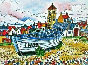 Digital Print of  Aldeburgh Beach with Boat by Ann Marie Whitton