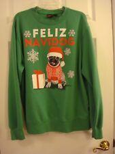 Unisex Christmas Feliz Navidog Pug Dog Green Sweat Shirt  XL