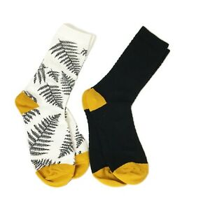 2 Pairs of Women's Socks, Leaf Pattern on One and Diamond Texture on the Other