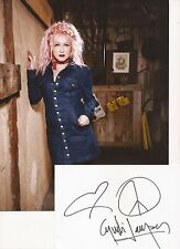 GIRLS JUST WANNA HAVE FUN: CYNDI LAUPER SIGNED 6x4 WHITECARD+UNSIGNED PHOTO+COA