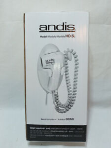 Andis 1600W Ionic Hang-Up White Wall Mount Hair Dryer HD-5L with Night Light NIB