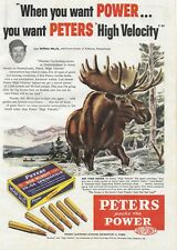 """Vintage 1955 Peters High Velocity Ammunition Print Ad Rifle Bullet Matted 11x14"""""""