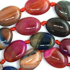 "24mm multicolor agate flat oval beads 15"" strand"