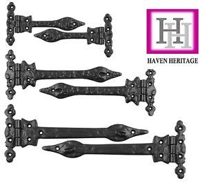 Cast Iron Black Spear Hinges Antique Vintage Traditional Leaf ornamental PAIR