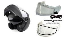 New Matte Black Modular Snowmobile Helmet Heated Or Double Shield Dual Adult Dot