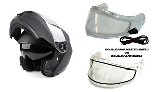 New Matte Black Modular Snowmobile Helmet Heated OR Double Shield Dual Adult DOT
