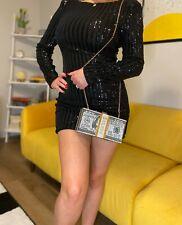 Crystal Money ClutchPurse 10000 Dollars women diamond handbag JLO crossbody bag