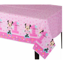 Baby Minnie Mouse First Birthday PlasticTable cover 1st Party Decoration Supply