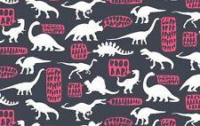 Dear Stella Fabric - Stellasaurus - Hear Me Roar Dinosaurs - Phantom 100% Cotton