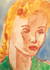Vintage watercolor painting fauvist girl portrait