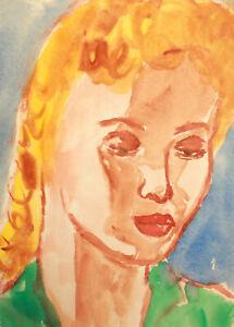 Vintage watercolor painting fauvist girl portrait