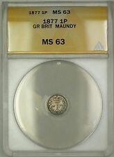 1877 Great Britain Queen Victoria Maundy 1P Penny Silver Coin ANACS MS-63