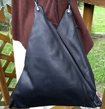 Hand Crafted Artisan Black Leather Double Zippered Triangle Bag USA NEW