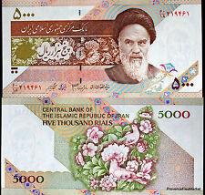 PERSA BILLETE nuevo de 5000 RIALES Pick145 Ayatollah JOMEINI FLOR PÁJAROS