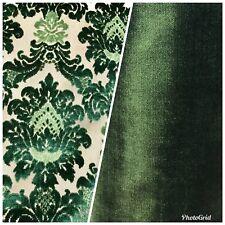 SWATCH Novelty Italian Designer Burnout Damask Velvet Upholstery Fabric - Green