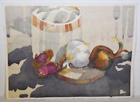 """15"""" Vintage Watercolor Abstract Shaner Art Mason Jar Still Life Onions Decor"""