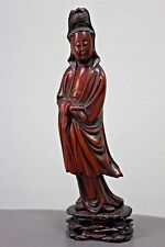 Beautifully 19th Century Chinese Smooth Wood Carving Figure Female Lady Buddha