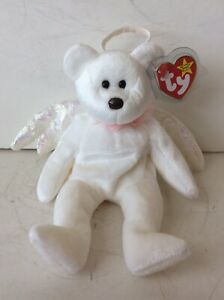 Retired TY HALO the Angel Bear Beanie Baby Very Rare w/ Brown Nose & Errors 1998