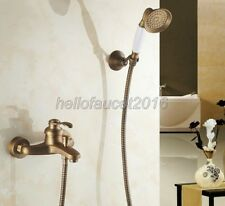 Wall Mounted Antique Brass Bathroom Shower Bath Tub Faucet With Hand Shower