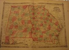 Antique 1864 Map:  Georgia & Alabama, Johnson & Ward, Civil War Era