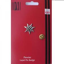 Small Edelweiss Pewter Lapel Pin Badge FLOWER PLANT CLUB EMBLEM Birthday Present