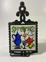 Vintage Cast Iron Trivet Hot Pot Holder Hand Painted Teapot Japan