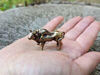 Brass Bull Figurine Collectible Miniature Handmade Fangshui Souvenir