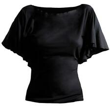 Spiral Plain Latin Visco Top With Boat Neck Adult Female Medium Black