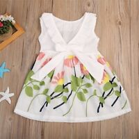 Girls Skater Dress Kids Cotton Floral Summer Party Dresses Age 2-10Years Clothes