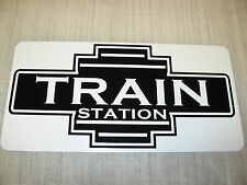 TRAIN STATION ART DECO Metal Sign Model Train Engine Vintage Style Retro Design