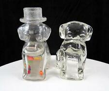 """T H STOUGH 2 PC PRESSED GLASS SLEEPY EYE THE CIRCUS DOG 3 5/8"""" CANDY CONTAINERS"""