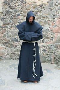 Men Medieval Priest Monk Robe Hooded Halloween Cosplay Costume Cloak Sorcerer