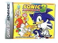 Sonic Advance 3 NINTENDO GAMEBOY GBA Instruction Booklet Manual Book Original
