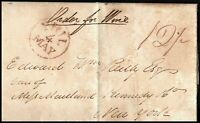 USA 1832 Entire Pre Stamp Phil to New York 12 1/2c Charge Postal History