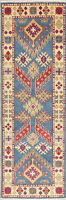New 2'x6' LIGHT BLUE Runner Kazak Geometric Retro Oriental Wool Hand-made Rug