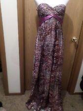 NWT BCBG MAXAZRIA Long Violet/Gold Strapless Silk Dress Size 4  $398 Stunning!
